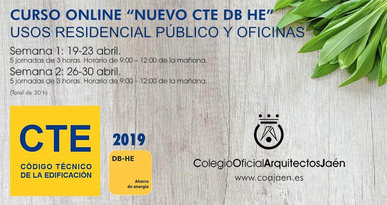 CURSO ONLINE 'NUEVO CTE DB HE 2019': USO RESIDENCIAL PÚBLICO Y OFICINAS (APLAZADO).